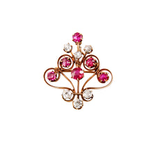 Edwardian 14k Yellow Gold Ruby and Diamond Pin/Pendant