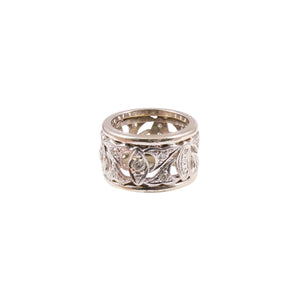 Art Deco Platinum and 14k White Gold Diamond Band