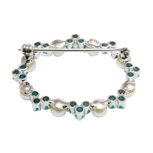 Mid-Century 18k White Gold Turquoise and Pearl Brooch