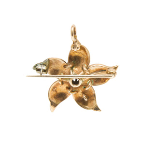 Edwardian 14k Yellow Gold Enamel, Diamond, and Seed Pearl Pin/Pendant