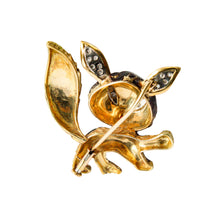 18k Yellow Gold Enamel and Diamond Fox Brooch