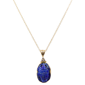 14k Yellow Gold Lapis and Diamond Scarab Pendant