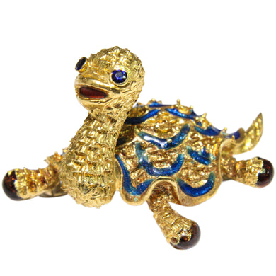 14k Yellow Gold Enamel Turtle Brooch