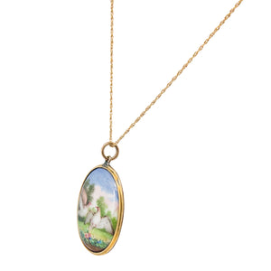 Antique 14k Yellow Gold Enamel Pendant