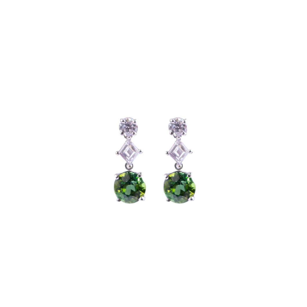 Platinum Tourmaline And Diamond Earrings