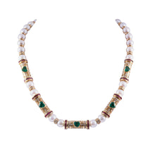 18k yellow gold, pearl, diamond, emerald, and ruby necklace