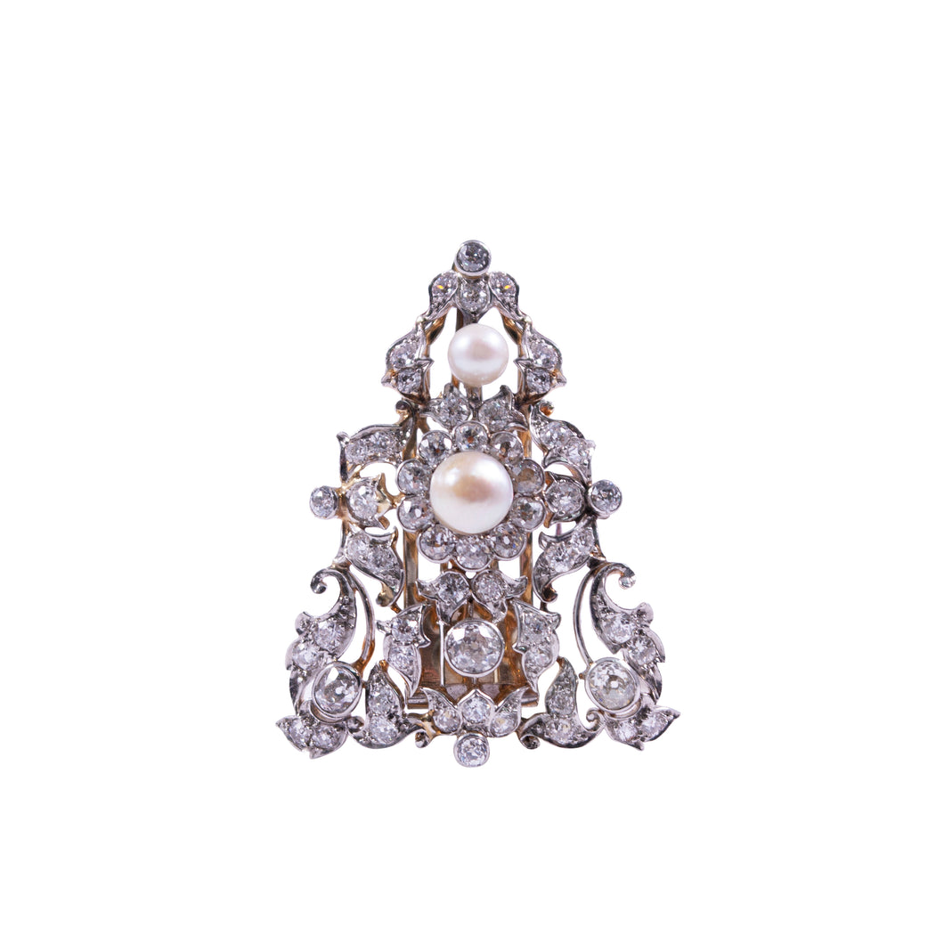 Edwardian platinum over gold diamond and pearl clip