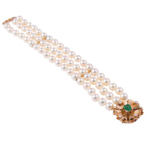 14k Yellow Gold Pearl, Emerald, and Diamond Bracelet