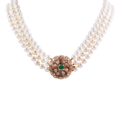 14k Yellow Gold Pearl, Emerald, and Diamond Necklace