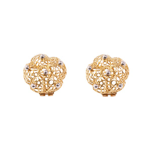 18k Yellow And White Gold Clip Earrings
