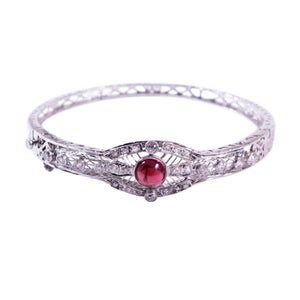 Mi-Century 14k White Gold Garnet and Diamond Bangle Bracelet