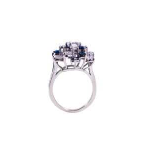 14k White Gold Diamond and Sapphire Cluster Ring