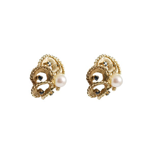 14k Yellow Gold Pearl and Sapphire Earrings