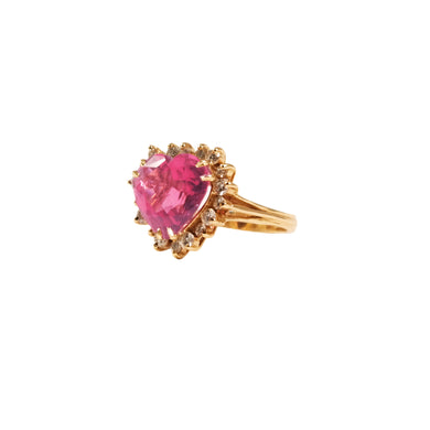 14k Yellow Gold Tourmaline And Diamond Ring