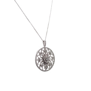 14k White Gold Diamond Disc Pendant