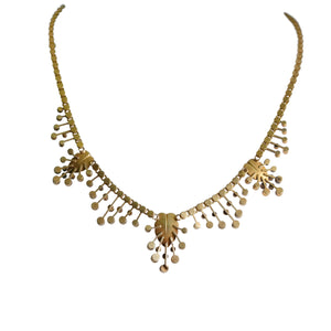 Victorian 14k Yellow Gold Seed Pearl Necklace
