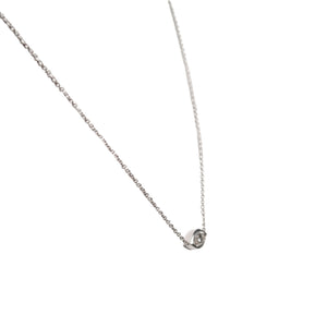 14k White Gold Bezel Diamond Necklace