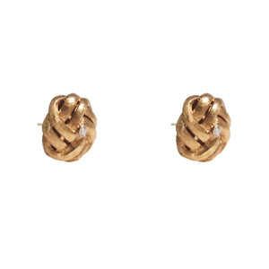 14k Yellow Gold Diamond Knot Earrings
