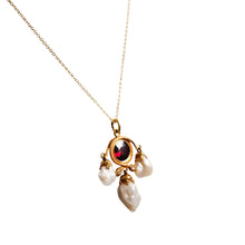 Antique 14k Yellow Garnet, Diamond, and Pearl Pendant