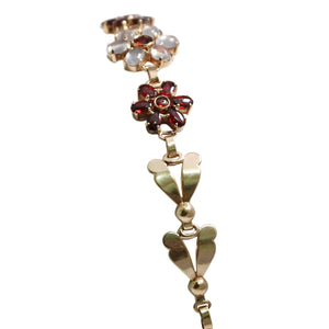 Retro Wab 14k Yellow Gold Flower Moonstone And Garnet Bracelet