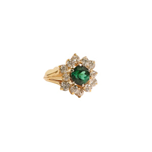 18k Yellow Gold Tourmaline And Diamond Ring