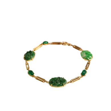 Art Deco 18k Yellow Gold Jade And Green Onyx Bracelet