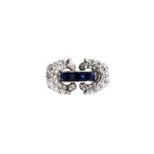 Retro Platinum Sapphire And Diamond Ring