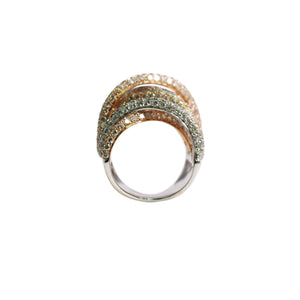 18k White, Yellow, and Rose Gold Pave Band