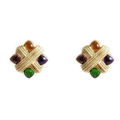 18k Yellow Gold Shield Shape Tourmaline, Citrine, And Amethyst Earrings