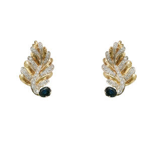 18k Yellow and White Gold Diamond and Sapphire Earrings