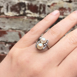 Mid Century 14k White Gold Pearl and Diamond Ring