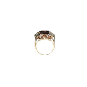 Retro 4k Yellow and White Gold Smoky Topaz and Diamond Ring