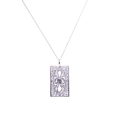 Art Deco Plainum Diamond Pendant