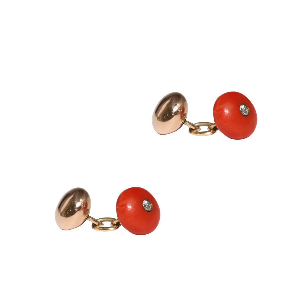 Antique 14k Yellow Gold Coral And Diamond Cufflinks