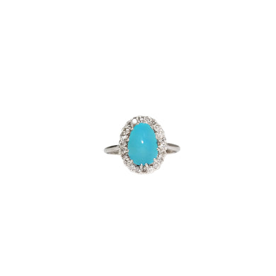 Mid-Century 14k White Gold Turquoise And Diamond Ring