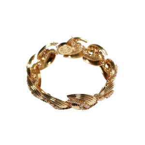 14k Yellow Gold Diamond Geometric Link Bracelet
