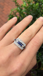 Mid-Century Platinum Sapphire And Diamond Ring