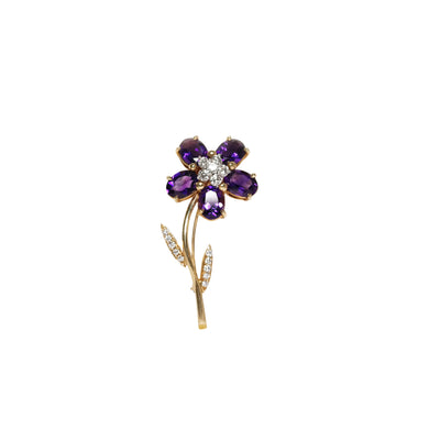 14k Yellow Gold Floral Amethyst And Diamond Brooch