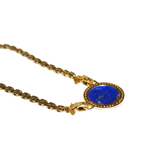 18k Yellow Gold Carved Lapis And Diamond Necklace