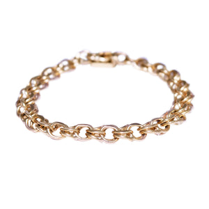 Mid-Century 14k Yellow Gold Curb Style Charm Bracelet