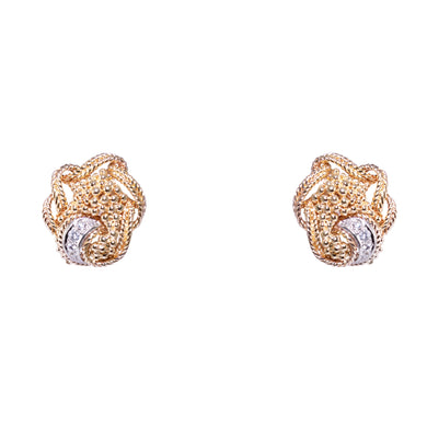 Mid Century 18k Yellow Gold Diamond Clip Earrings