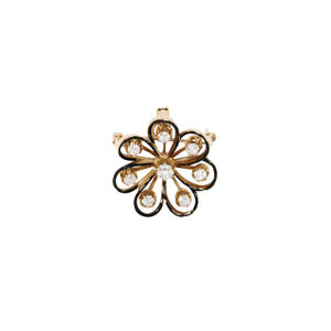Antique 14k Yellow Gold Diamond And Enamel Floral Pin/Pendant