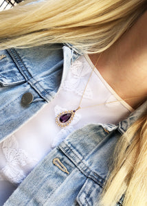 Mid-Century 14k Yellow Gold Amethyst And Seed Pearl Necklace