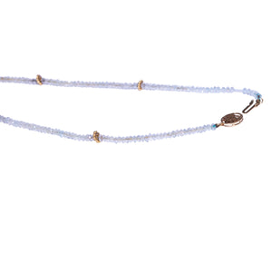 14k Yellow Gold Aquamarine And South Sea Pearl Necklace