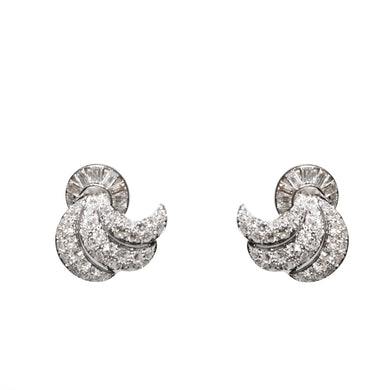 Mid-Century 18k White Gold Diamond Earrings
