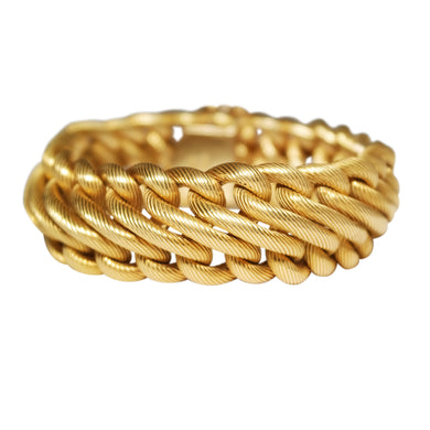 Mid-Century 18k Yellow Gold Textured Bracelet