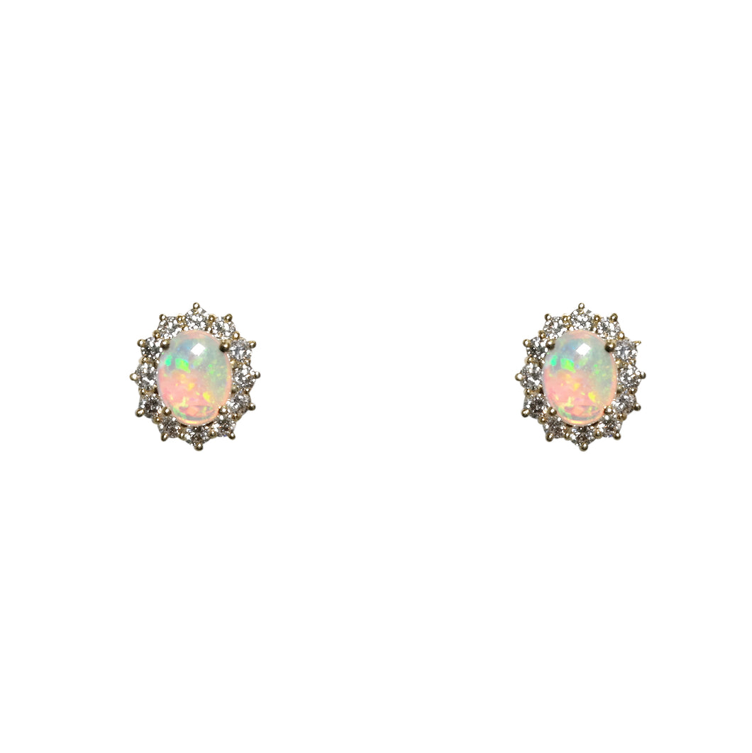 18k Yellow Gold Opal And Diamond Earrings