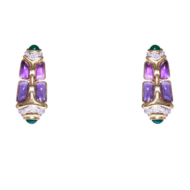 18k Yellow Gold Amethyst, Emerald, And Diamond Drop Earrings