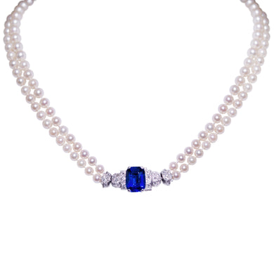 Art Deco Platinum Pearl Diamond and Sapphire Necklace