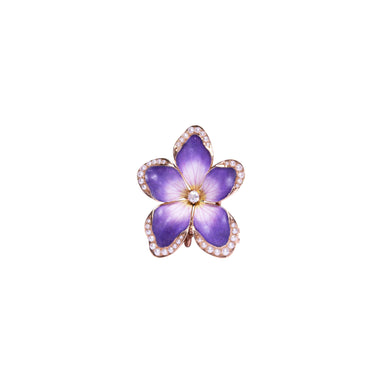 Antique 14k Yellow Gold Enamel, Diamond, and Seed Pearl Pansy Brooch
